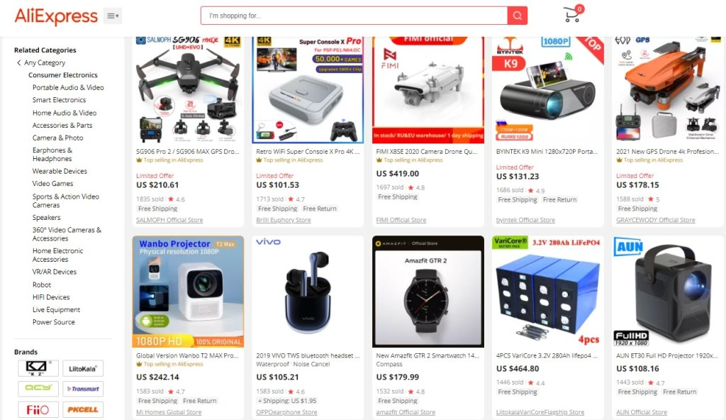 Example high-ticket dropshipping products in the consumer electronics niche
