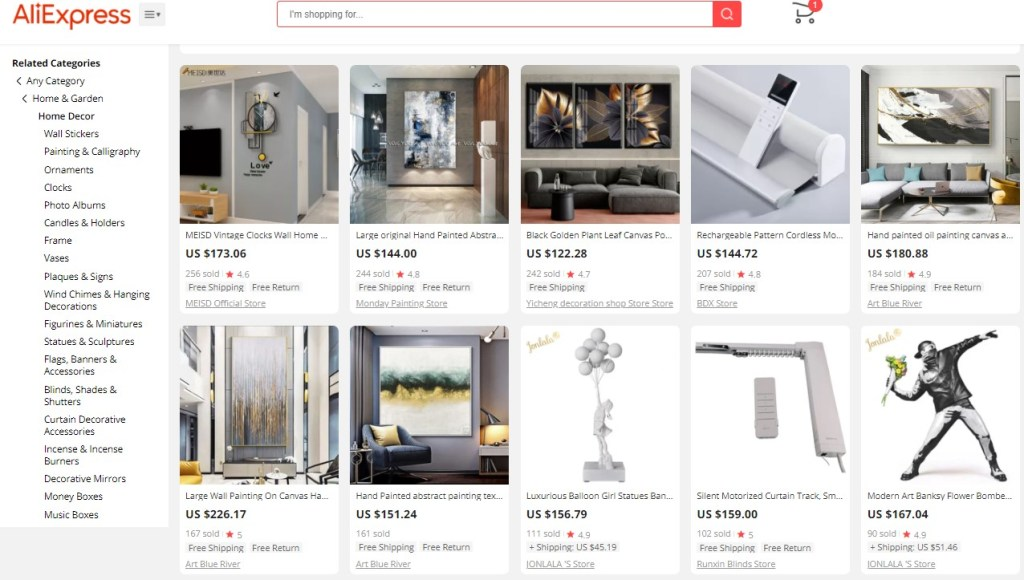 Example high-ticket dropshipping products in the home decor niche