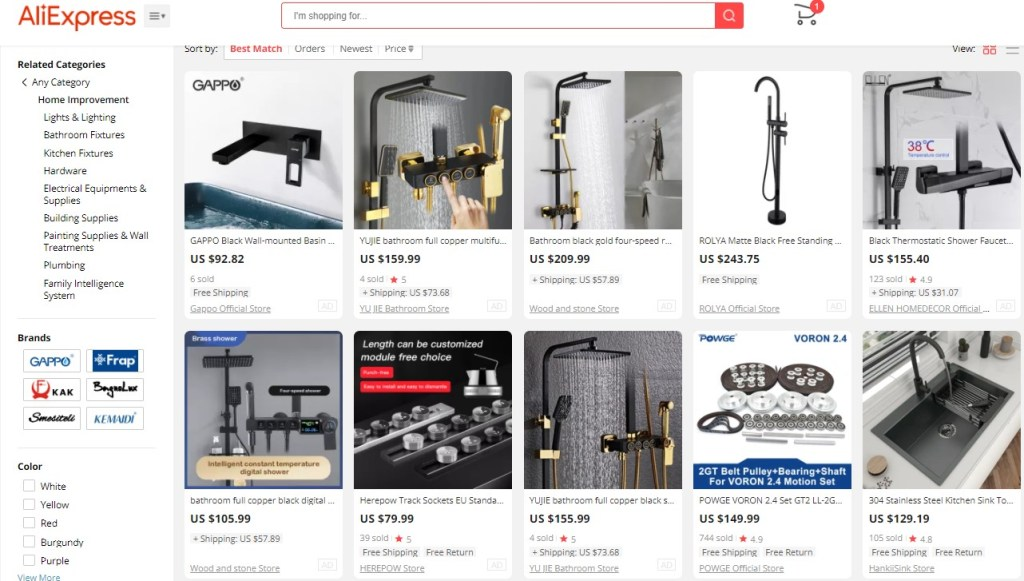 Example high-ticket dropshipping products in the home improvement niche