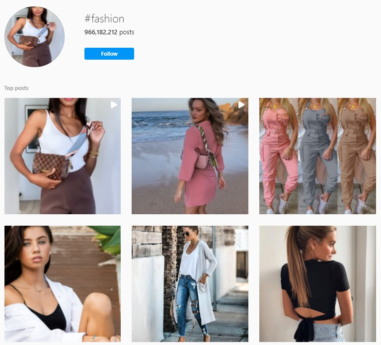 Instagram hashtag results for fashion