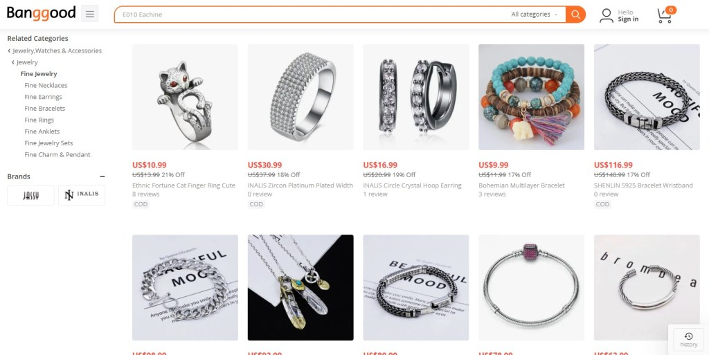 Jewelry dropshipping products on Banggood