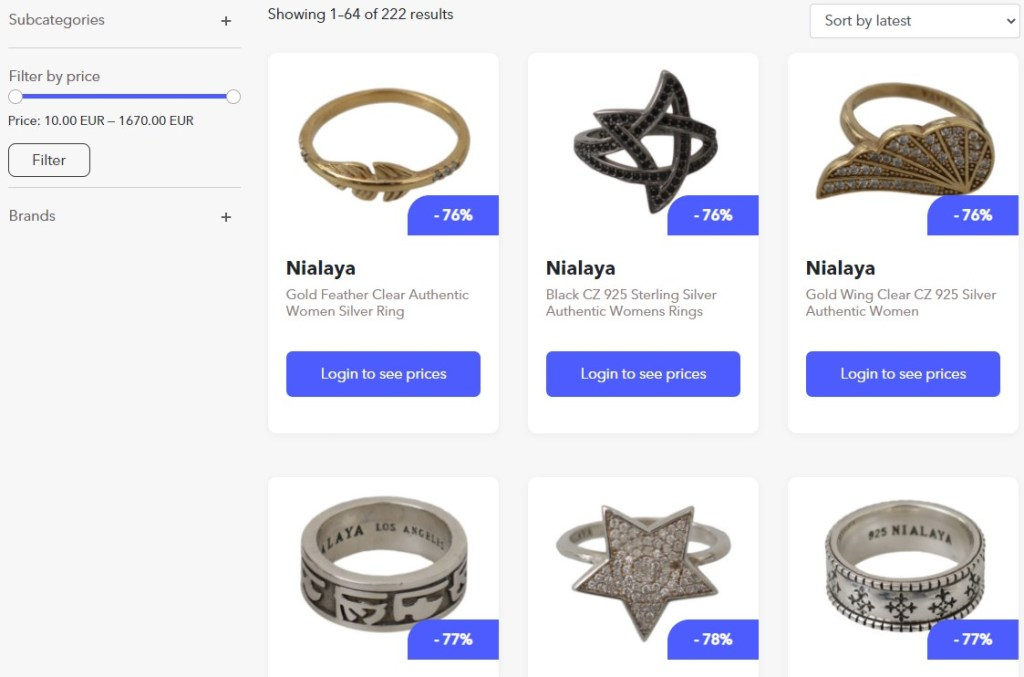 Jewelry dropshipping products on BrandsGateWay