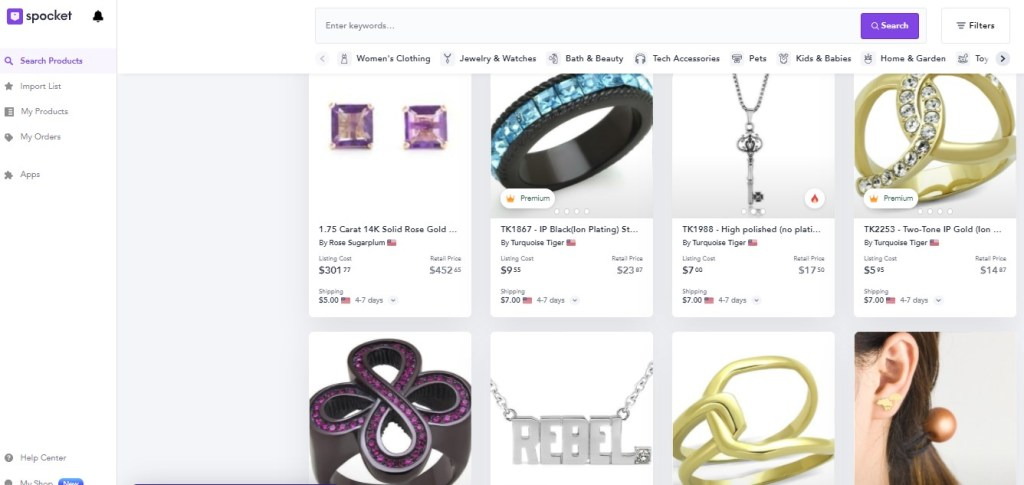 Jewelry dropshipping products on Spocket