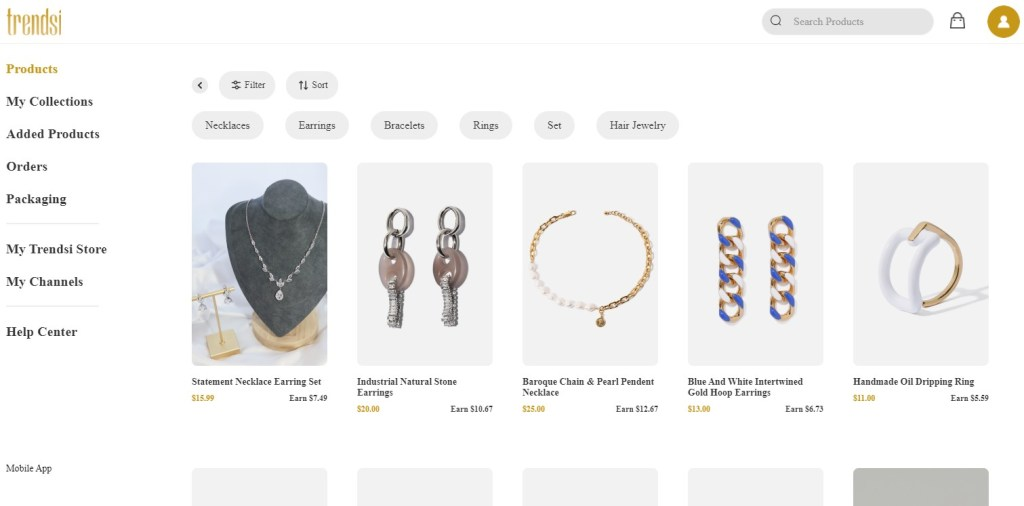 Jewelry dropshipping products on Trendsi
