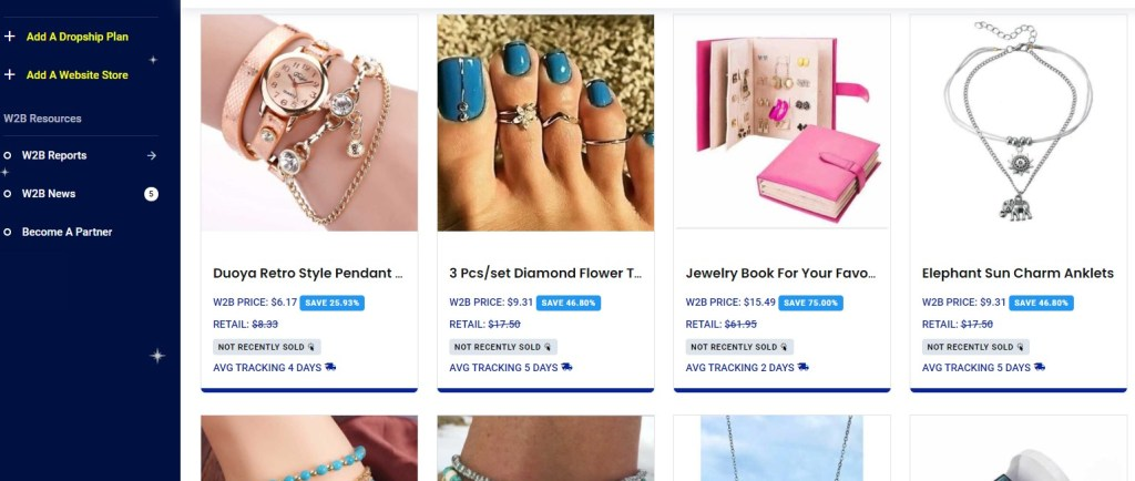 Jewelry dropshipping products on Wholesale2b