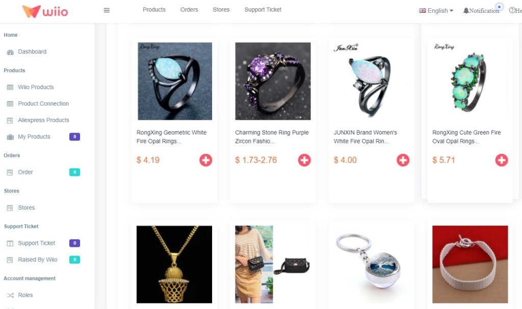 Jewelry dropshipping products on Wiio
