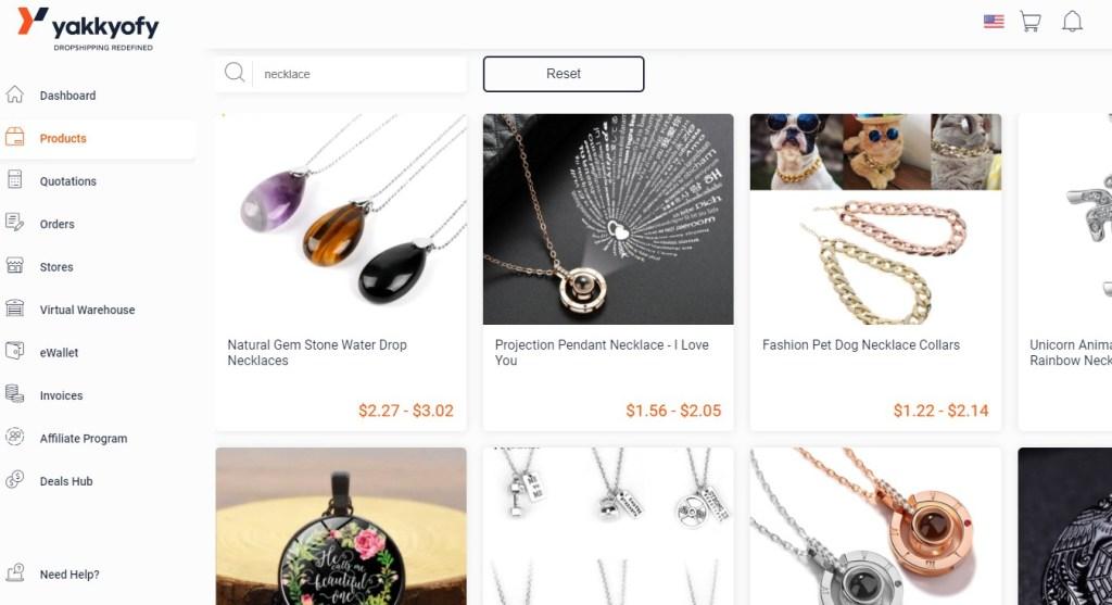Jewelry dropshipping products on Yakkyofy