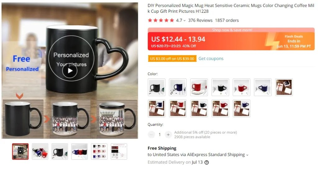Personalized coffee mug dropshipping product example