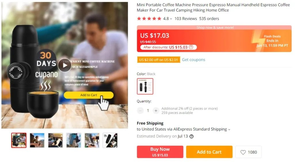 Portable coffee machine dropshipping product example