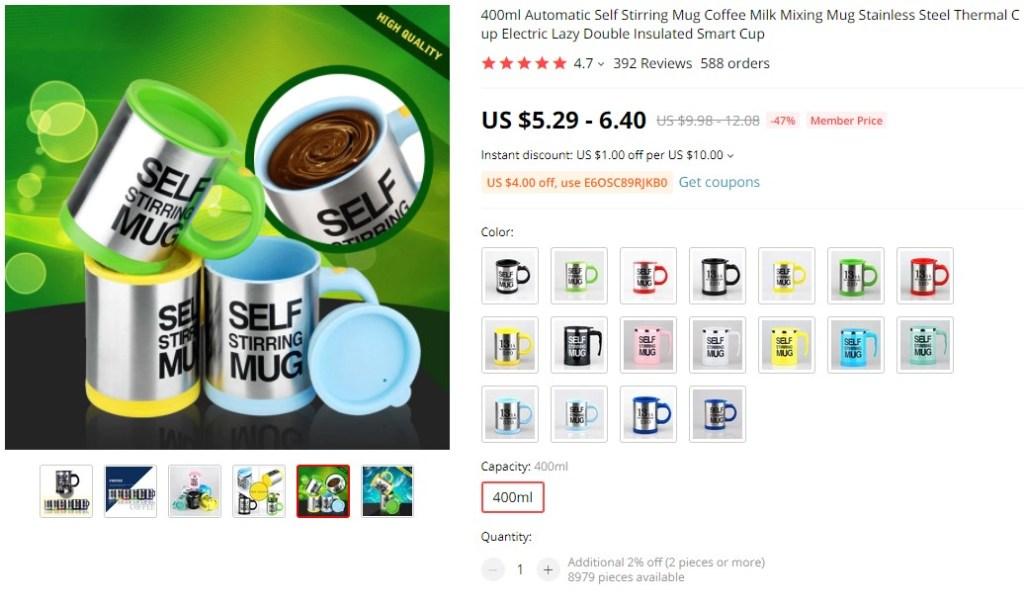 Self stirring coffee mug dropshipping product example