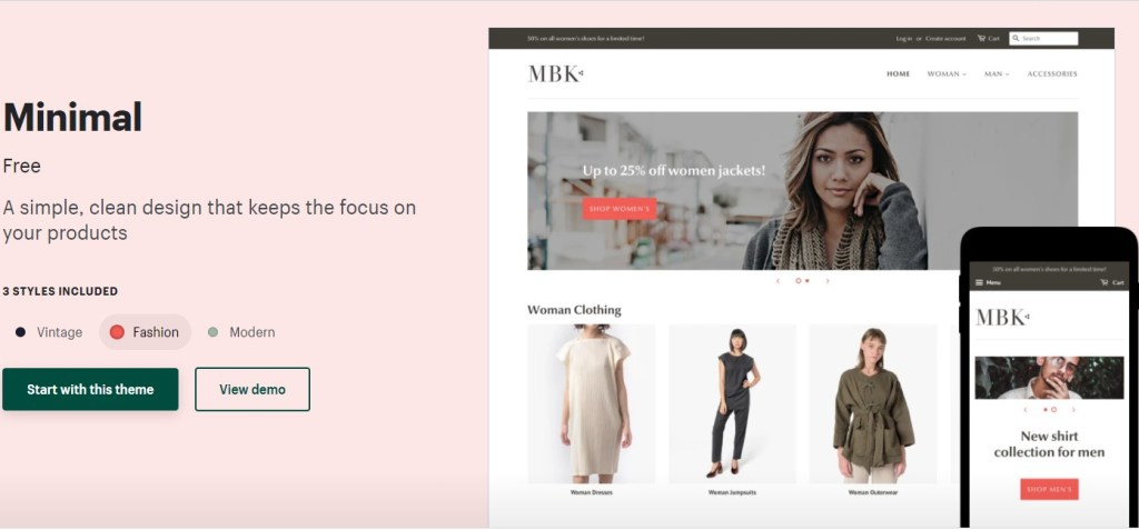 Shopify minimal theme for clothing dropshipping stores