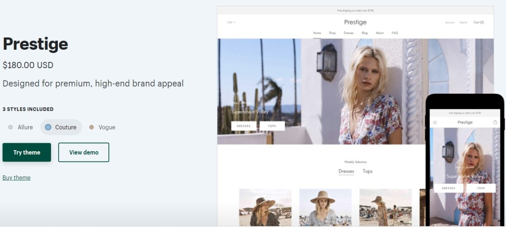 Shopify Prestige theme for clothing dropshipping stores