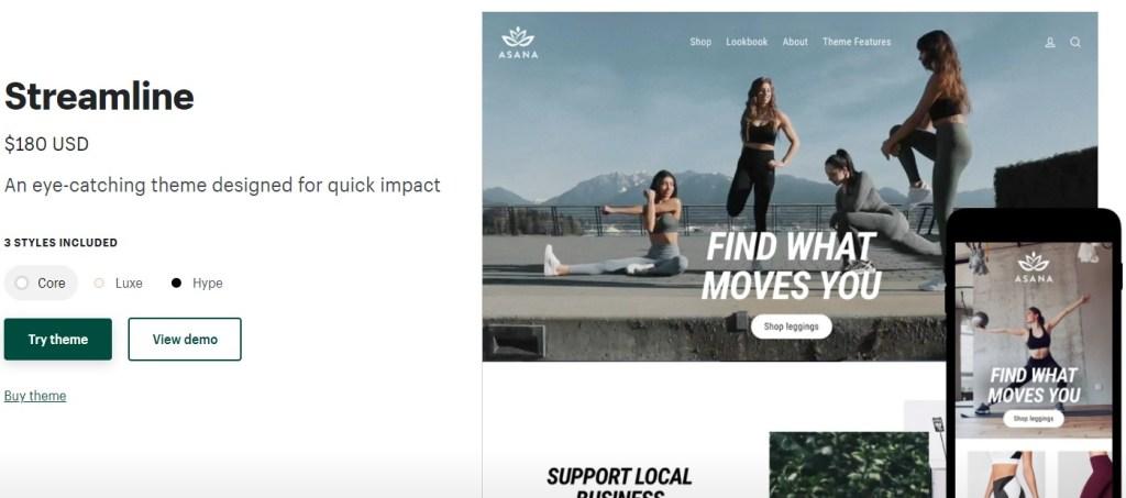 Shopify Streamline theme