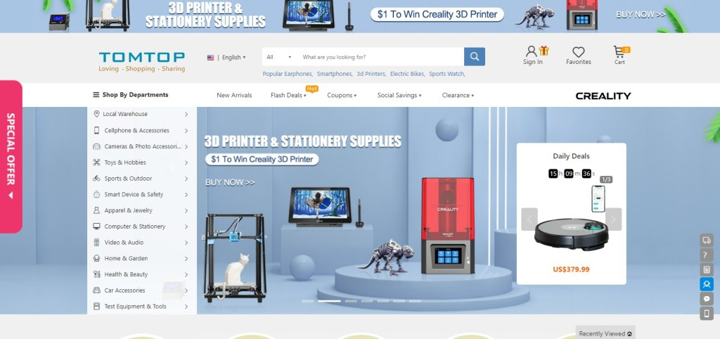 Tomtop alternative dropshipping marketplace to Alibaba