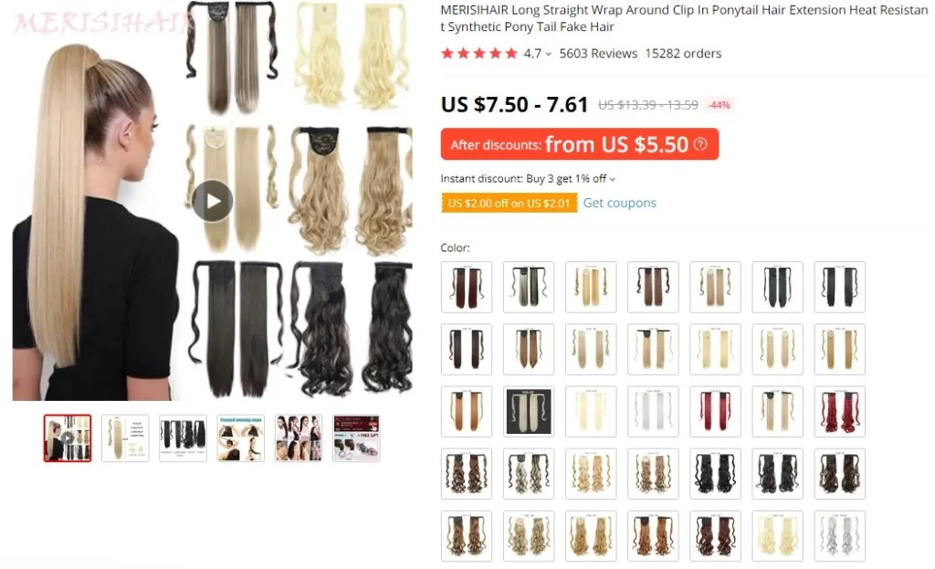 Wrap-around ponytail dropshipping product example