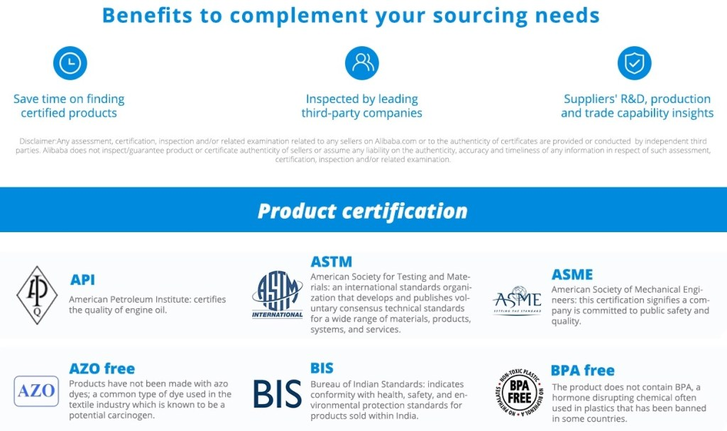 Alibaba management & product certifications
