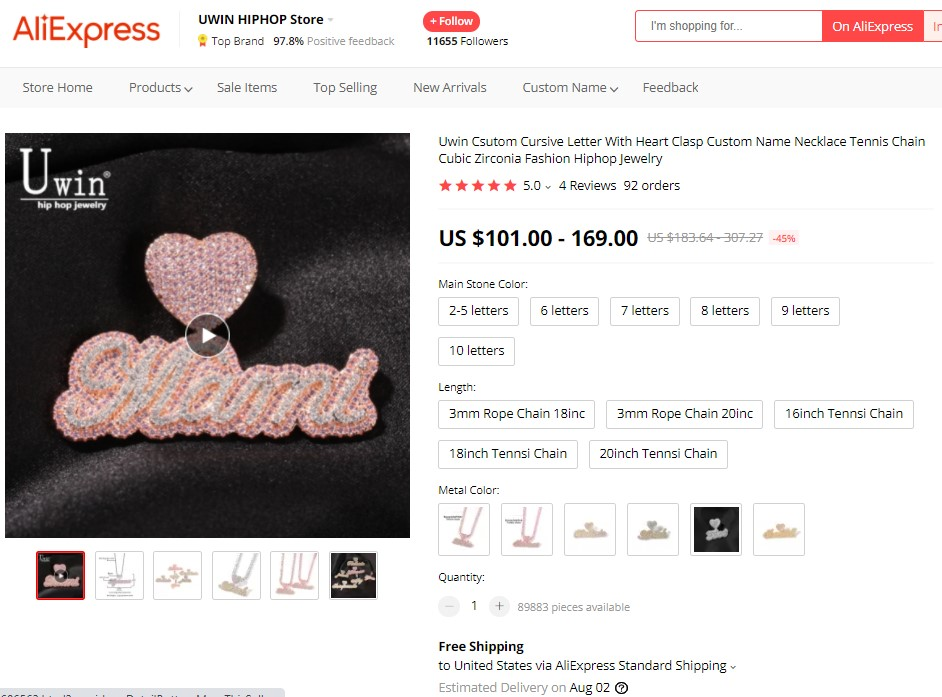 Custom name necklace high-ticket dropshipping product