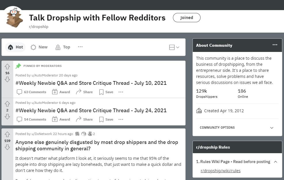Reddit dropshipping community