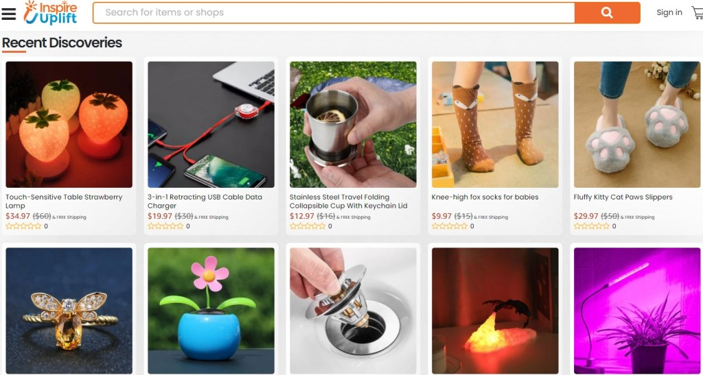 An example store dropshipping tangible products