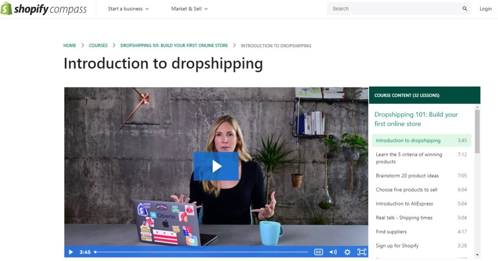 Free dropshipping courses on Shopify