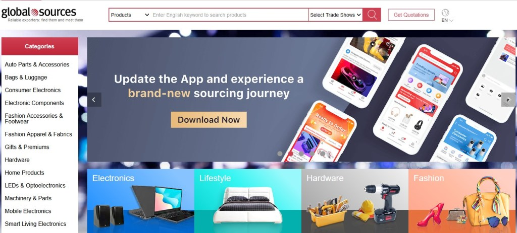 Global Sources alternative dropshipping marketplace to Alibaba