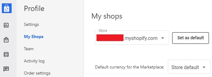 Shopify account name inside Syncee