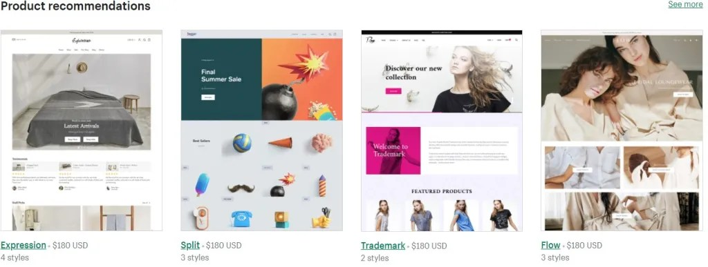 Shopify theme examples