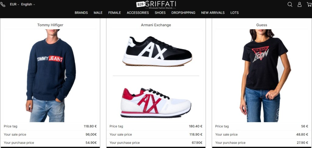 Branded dropshipping products on Griffati