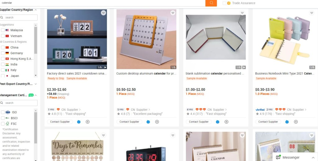Calendar dropshipping products on Alibaba