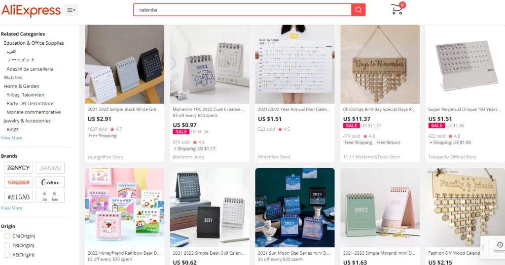 Calendar dropshipping products on AliExpress