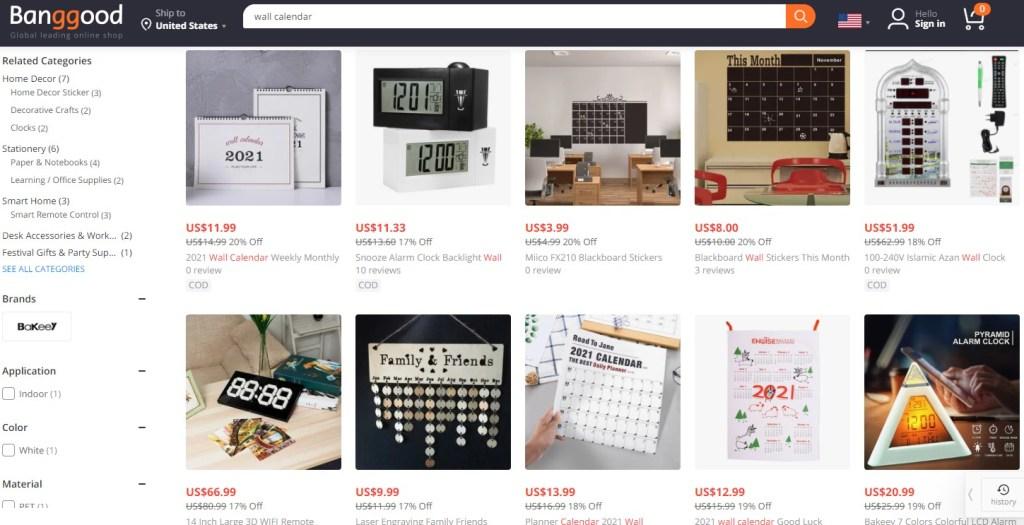 Calendar dropshipping products on Banggood