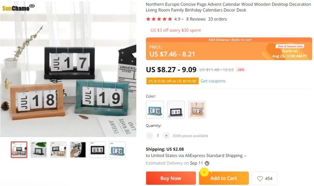 desk decor calendar dropshipping product example