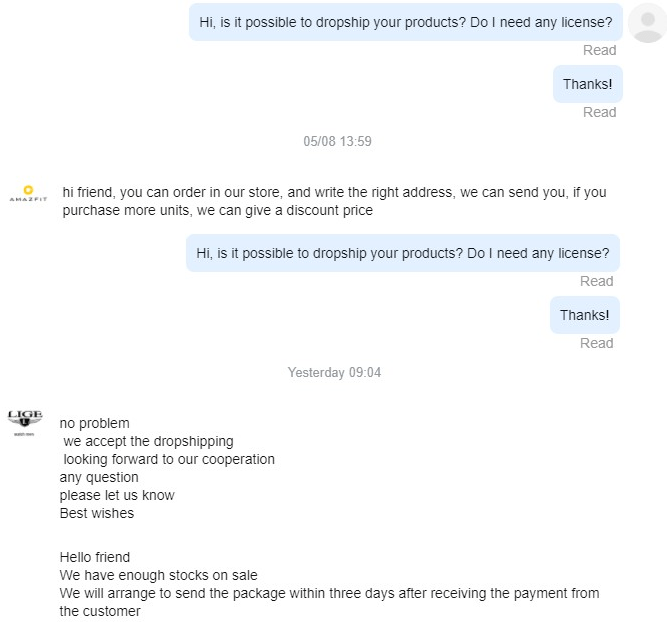 Message Chinese brands to ask for dropshipping permissions
