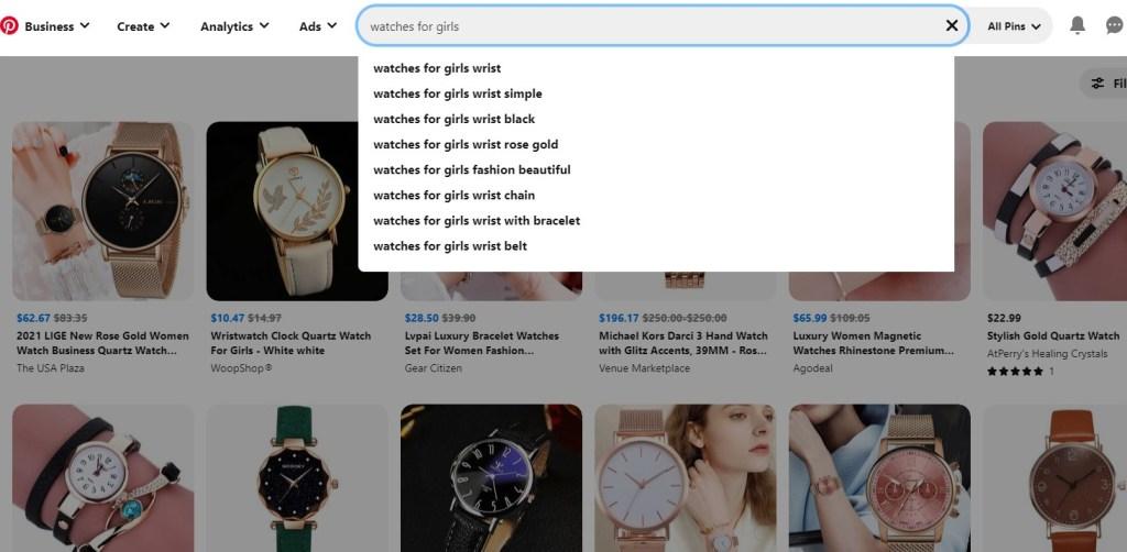 Pinterest keyword ideas for watches