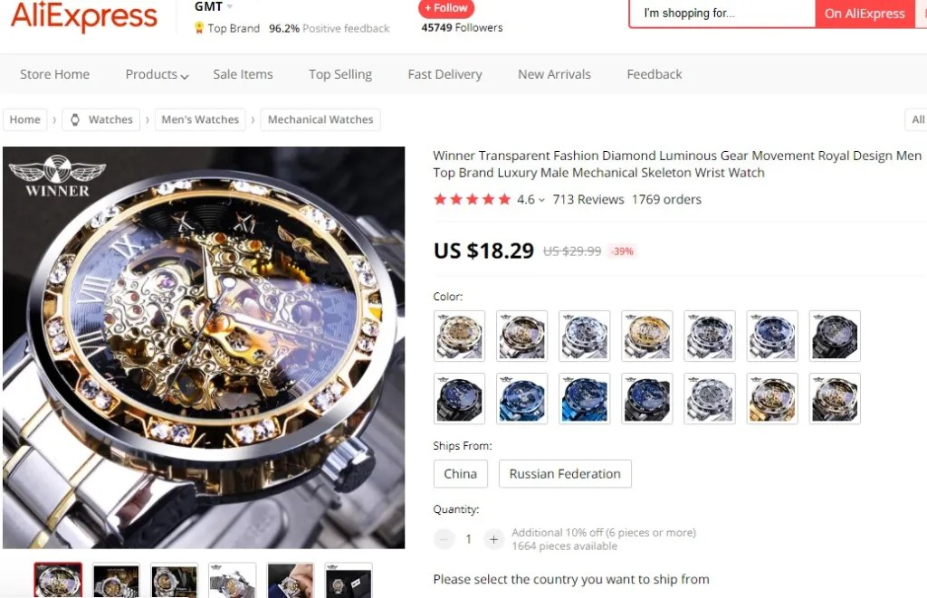 Skeleton watch dropshipping product example