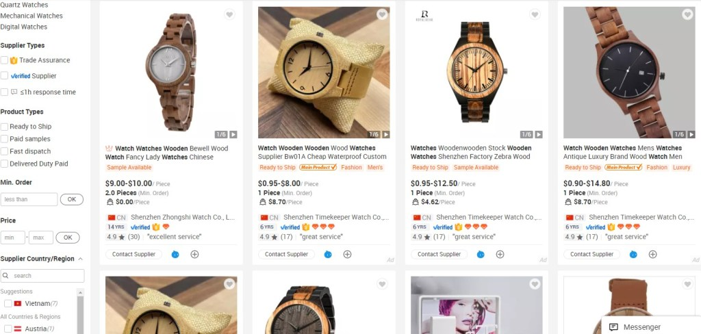 Watches dropshipping products on Alibaba