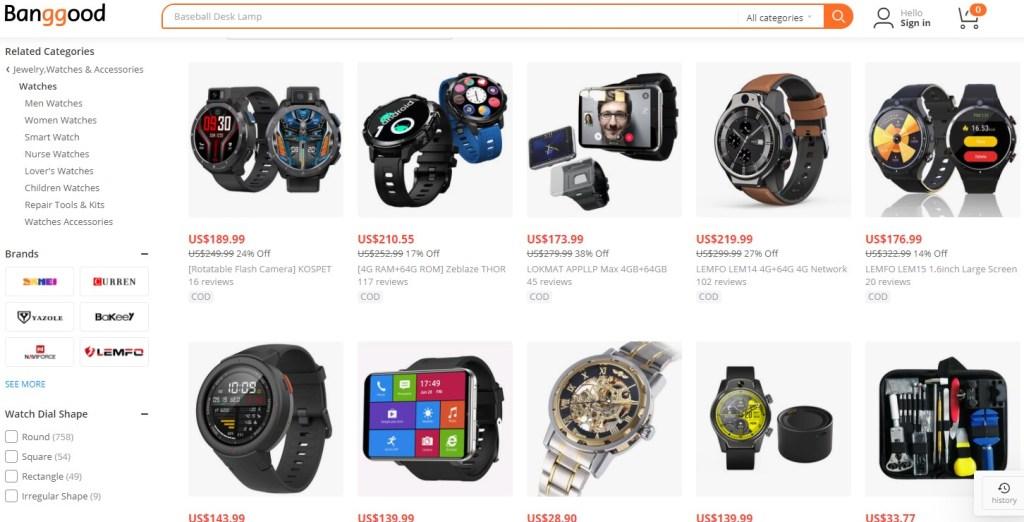 Watches dropshipping products on Banggood