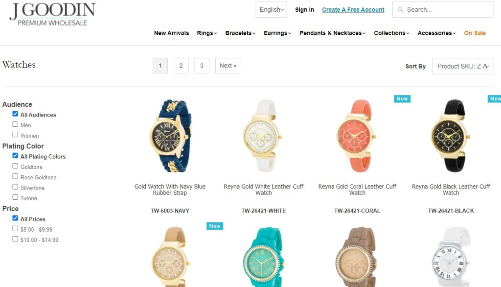 Watches dropshipping products on JGoodin
