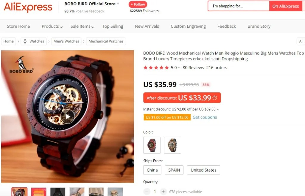 Wooden watch dropshipping product example