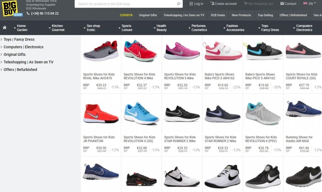 Nike & Adidas dropshipping shoes on BigBuy
