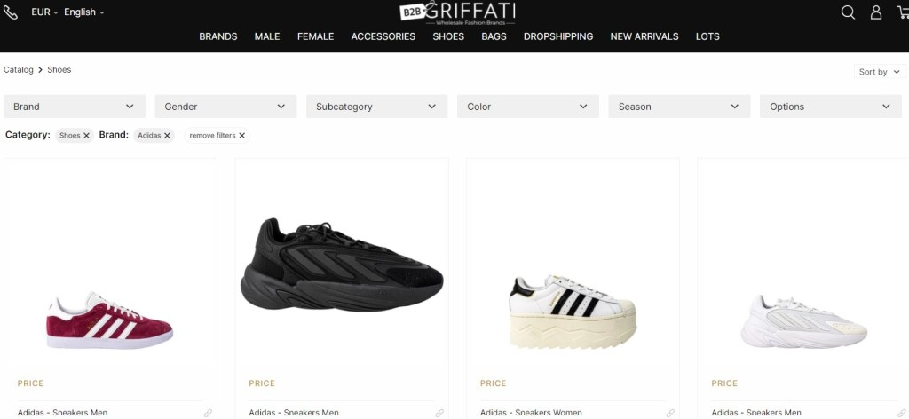 Nike & Adidas dropshipping shoes on Griffati