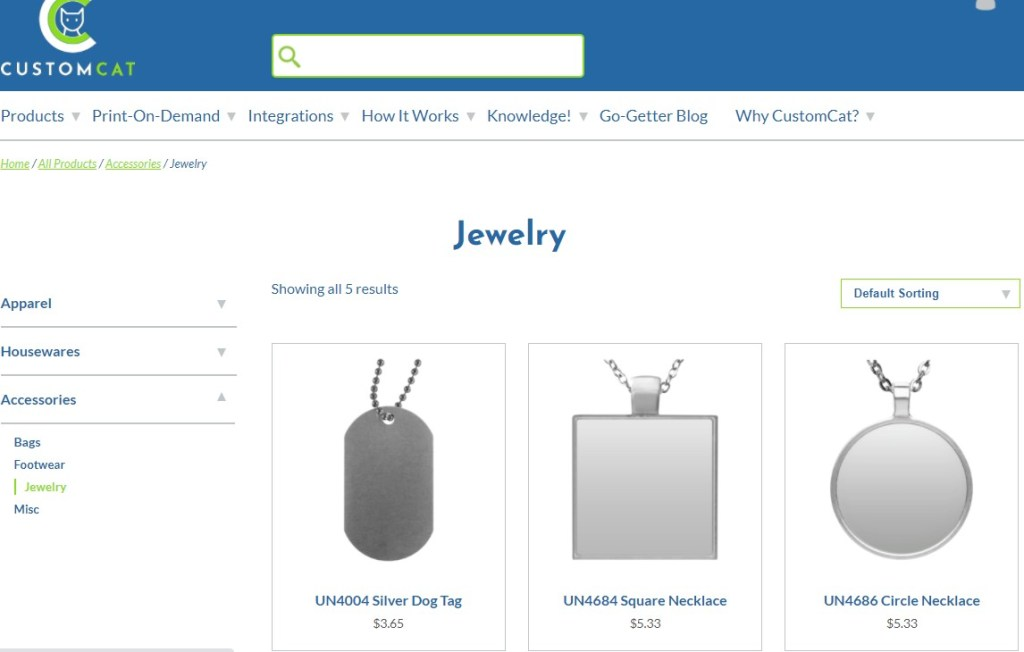 CustomCat jewelry & watches print-on-demand dropshipping supplier
