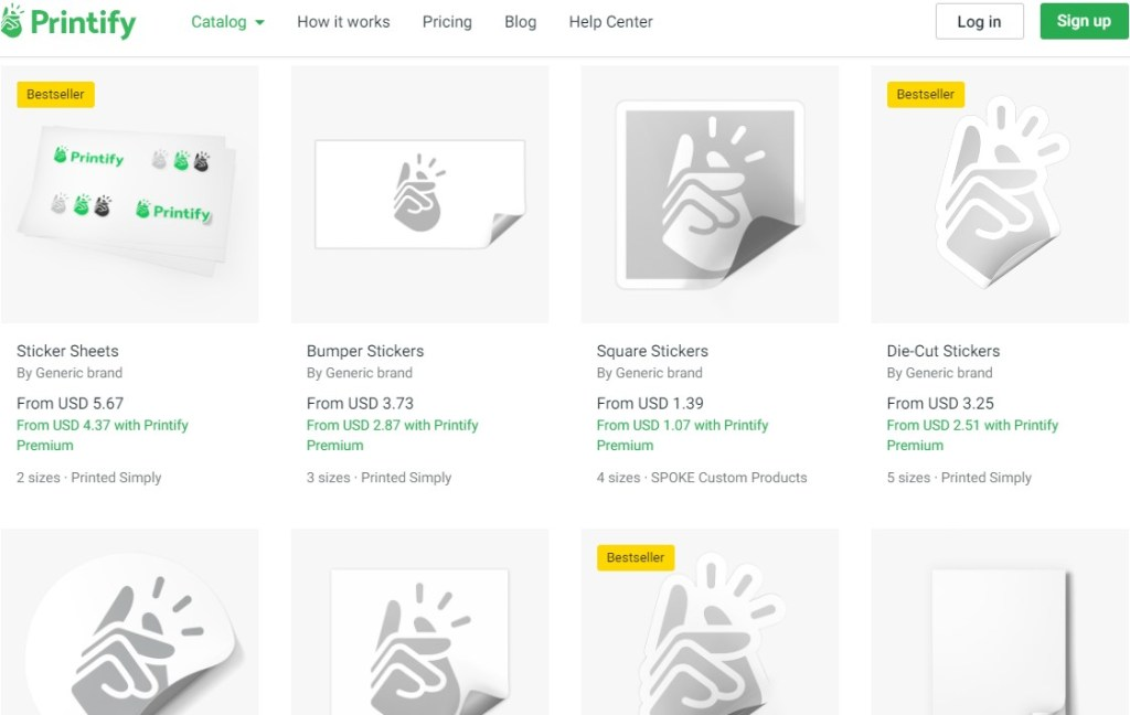 Stickers dropshipping products on Printify