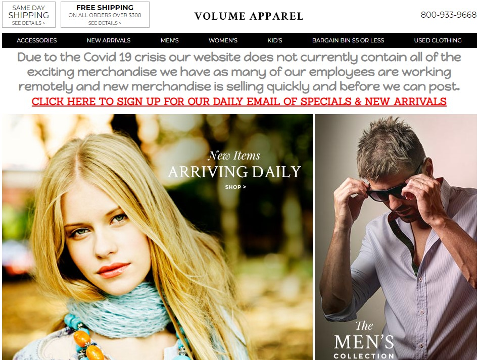 Volume Apparel New York wholesale clothing vendor & distributor