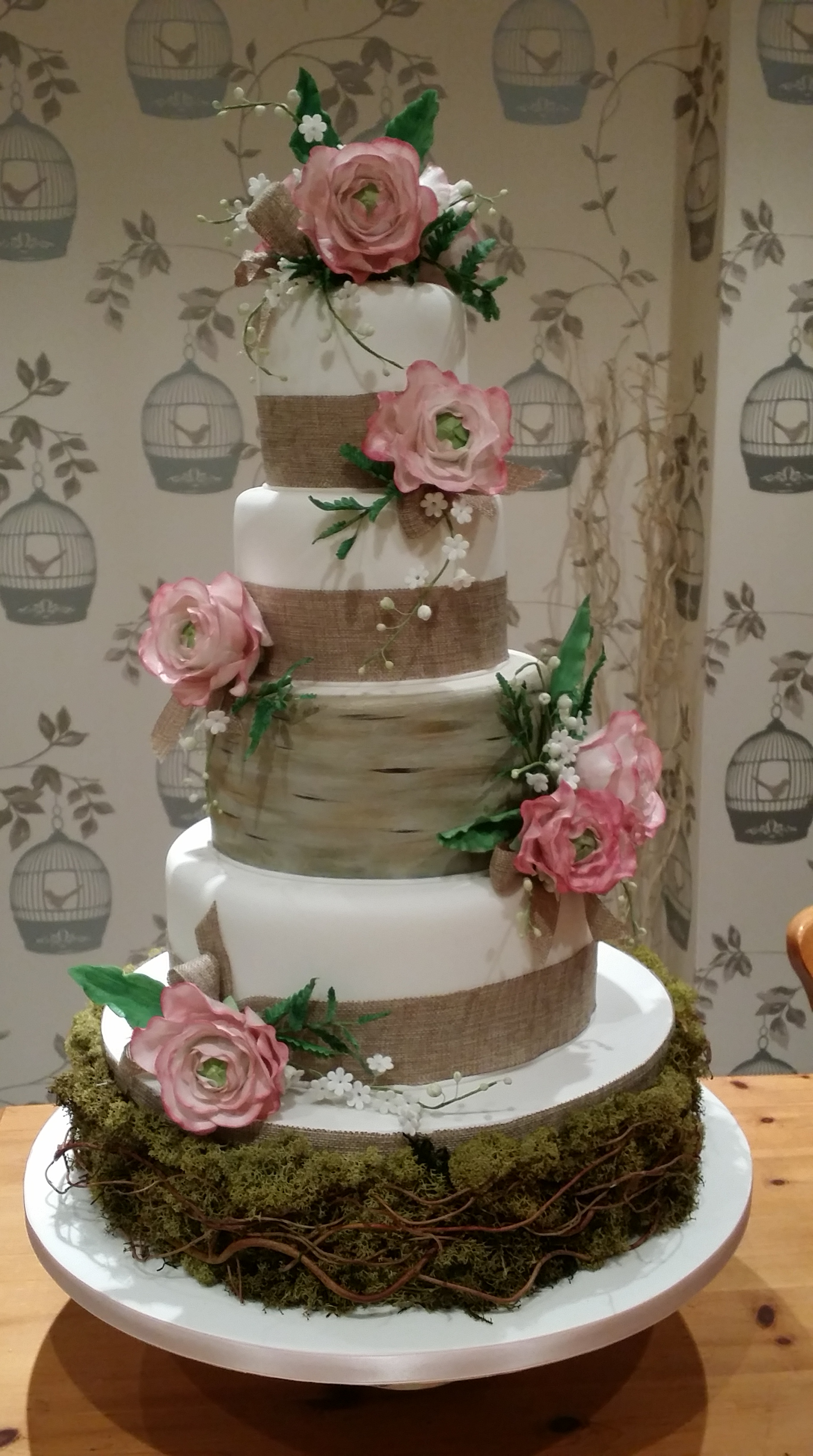 4tier rustic vintage wedding cake  The Clever Little Cake Company
