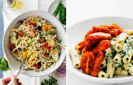 Creamy pasta salad with cherry tomatoes in a large bowl by Love & Lemons and Creamy pasta with roasted tomatoes on a white plate by Blissful Basil