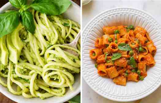 Avocado spaghetti in a white bowl with basil leaves by Joy Food Sunshineand pasta with peas and red pepper sauce in a white bowl by The Simple Veganista