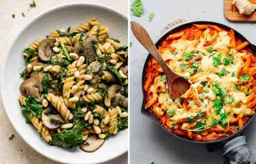 Spinach and mushroom fusilli on a white plate by Salt & Lavander and Penne pasta bake in a dark skillet by Full of Plants