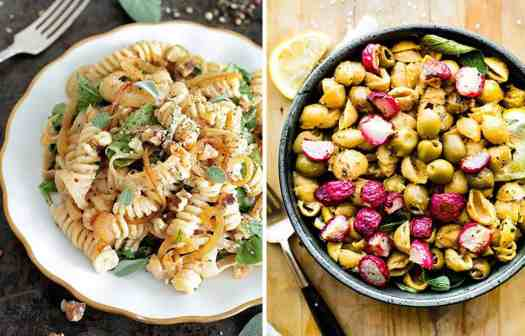 Vegan lemon fusilli on a white plate by Green Evi and Radish chickpea pasta on a black bowl by Cotter Crunch
