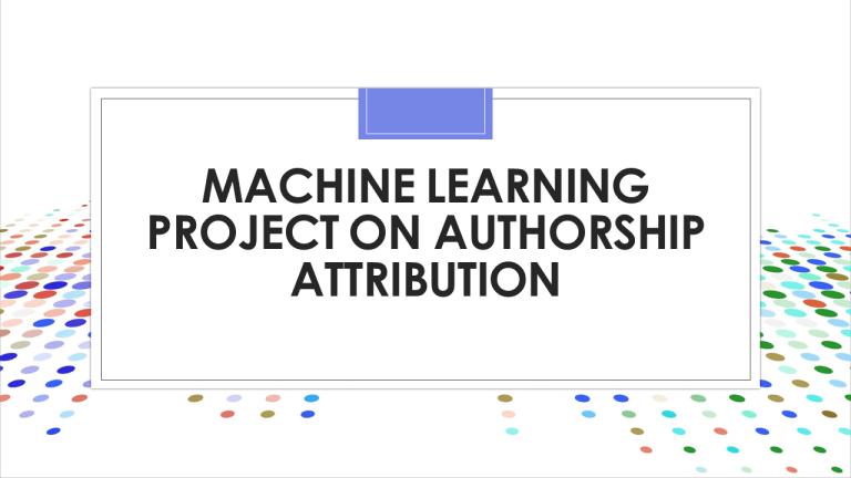 Authorship Attribution with Python